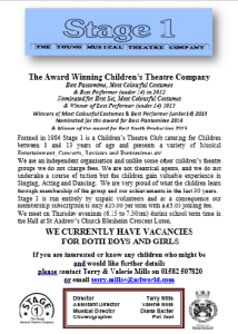 Stage 1 theatre children flyer
